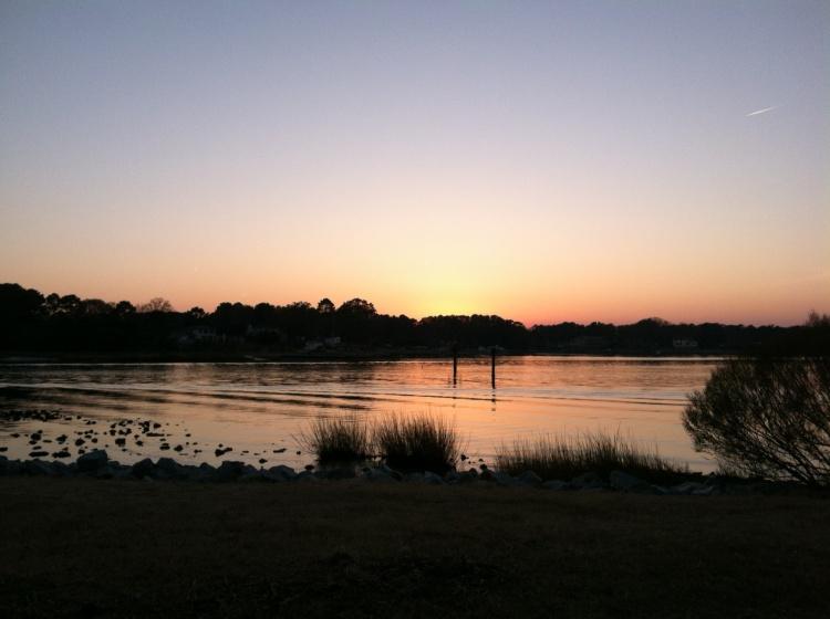 Sun setting over Broad Bay