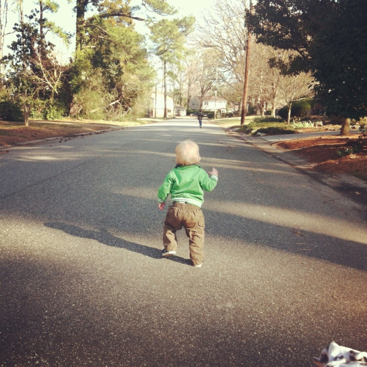 Dream Big Little Baby! Chet chasing his brother as Cole ran a mile around the block!