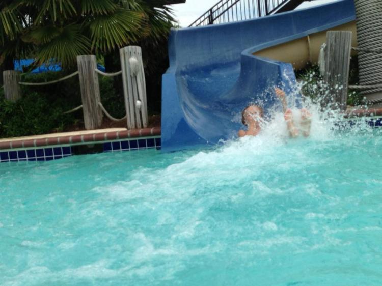 Cole's splashing entrance into the pool -  Now imagine me holding Chet!