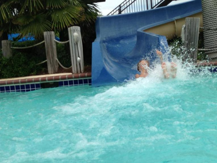 Cole's splashing entrance into the pool -  Now imagine me holding Chet!
